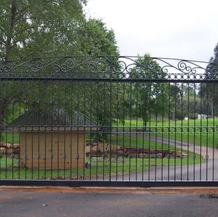"""""""Contemporary"""" sliding gate."""