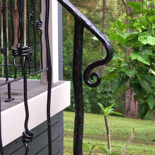 """""""Free form"""" balustrade end view."""