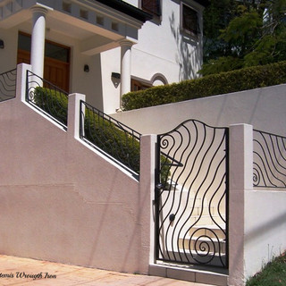 """""""Seascape"""" security entrance gate with matching panels."""