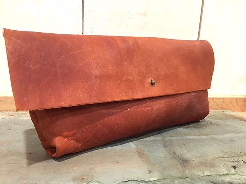 Leather Clutch in British Tan