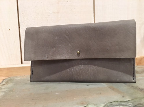 Leather Clutch in Slate