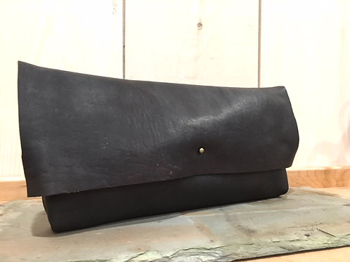 Leather Clutch in Dark Charcoal