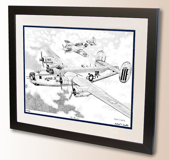 B-24 Liberator and P-40 Warhawk art print by Michael Smith
