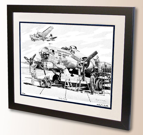 B-17 Fuddy Duddy pen and ink drawing art print by Michael Smith
