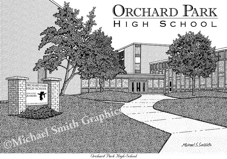 Orchard Park High School art print by Michael Smith