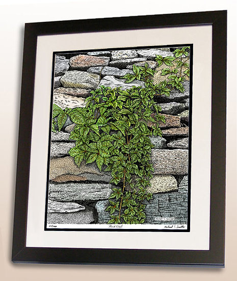 Rock Wall foliage art print by Michael Smith
