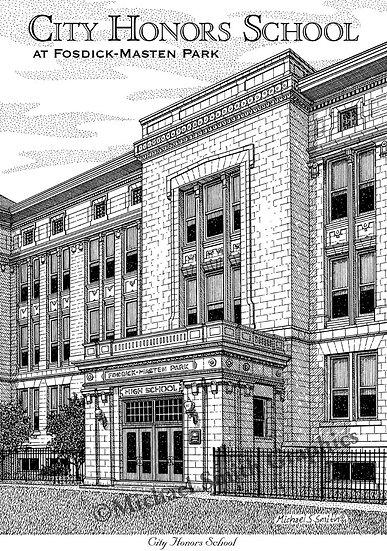 City Honors School at Fosdick-Masten Park art print by Michael Smith