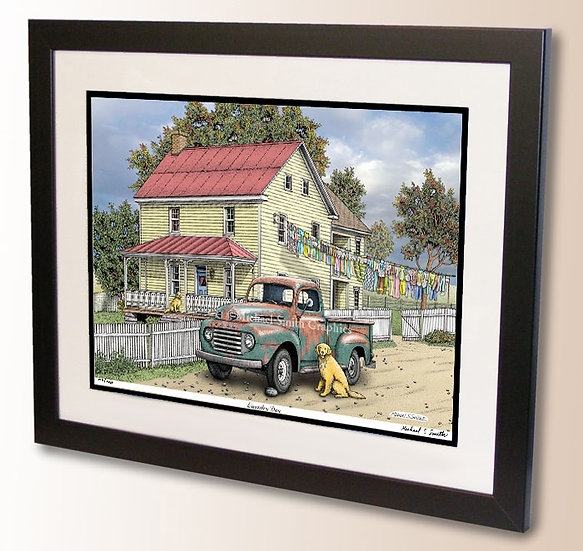 Golden Retriever and old pickup art print by Michael Smith