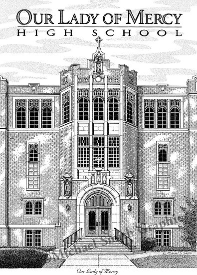 Our Lady of Mercy High School art print by Michael Smith