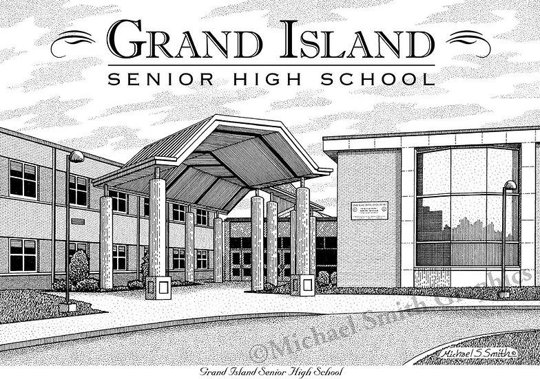 Grand Island High School art print by Michael Smith