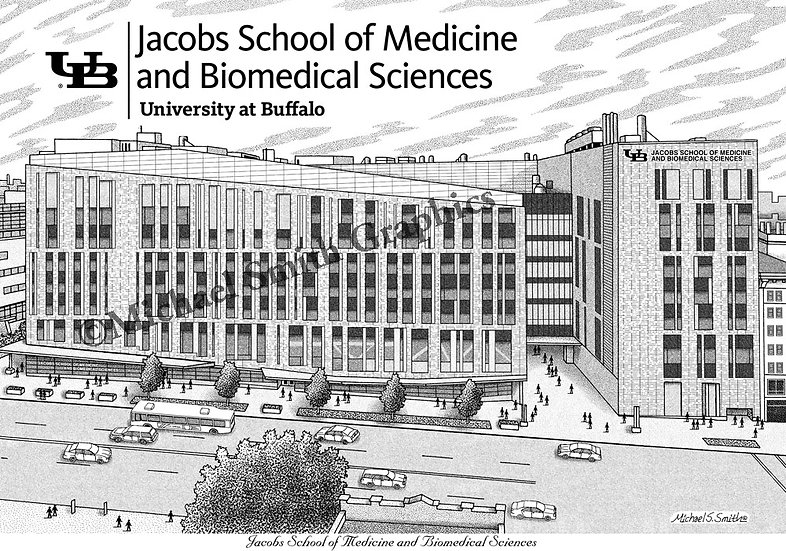 UB Jacobs School of Medicine and Biomedical Sciences art print by Michael Smith