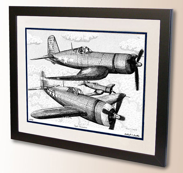 P-47 and F4U pen and ink drawing art print by Michael Smith