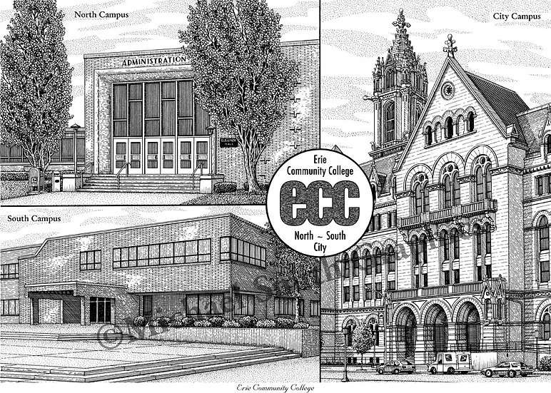 Erie Community College ECC art print by Michael Smith