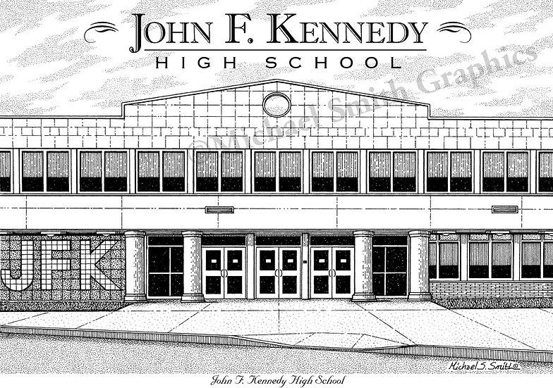 John F. Kennedy High School art print by Michael Smith