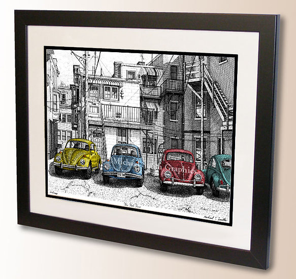 Classic automotive pen and ink art print by Michael Smith