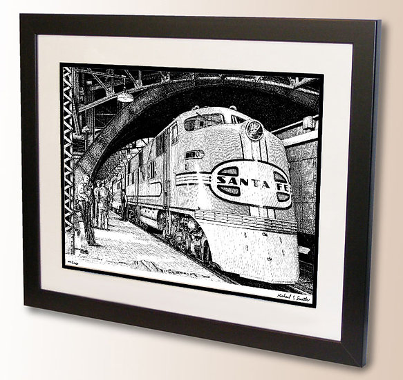 Train drawing art print by Michael Smith