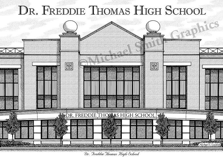 Dr. Freddie Thomas High School art print by Michael Smith