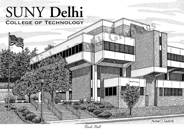 SUNY Delhi Bush Hall art print by Michael Smith