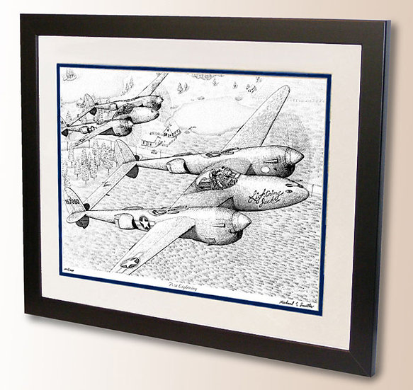 Lockheed P-38 pen and ink art print by Michael Smith