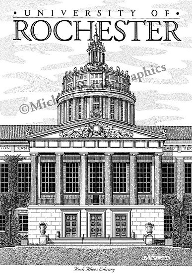 University of Rochester Rush Rhees Library art print by Michael Smith