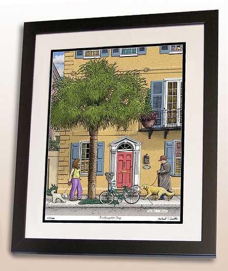Walking the Dogs in Charleston, SC art print by Michael Smith