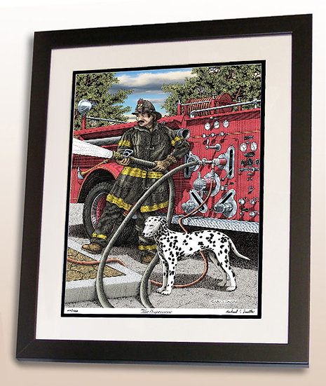 Classic firefighter art print by Michael Smith