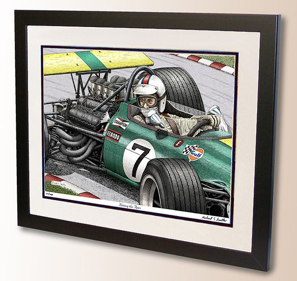 Vintage Formula One pen and ink art print by Michael Smith