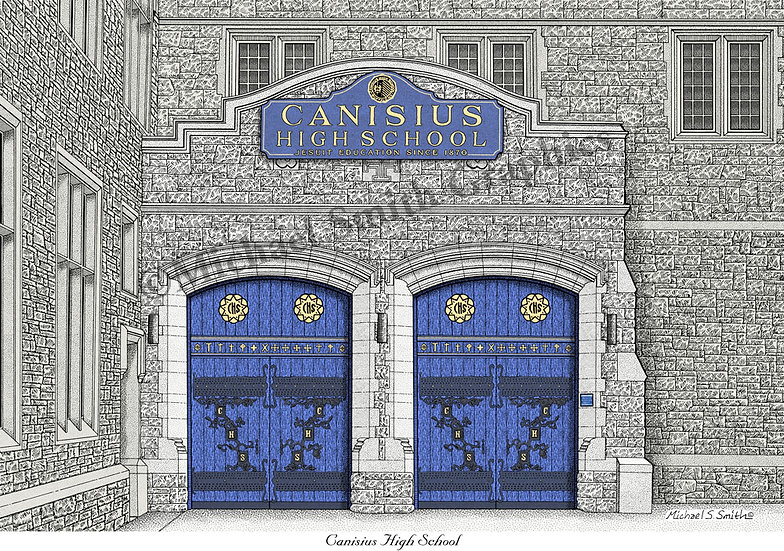 Canisius High School Blue Doors art print by Michael Smith