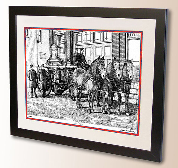 Vintage Firefighter art print by Michael Smith