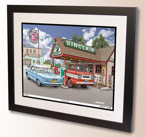 Vintage Corvair wall art print by Michael Smith