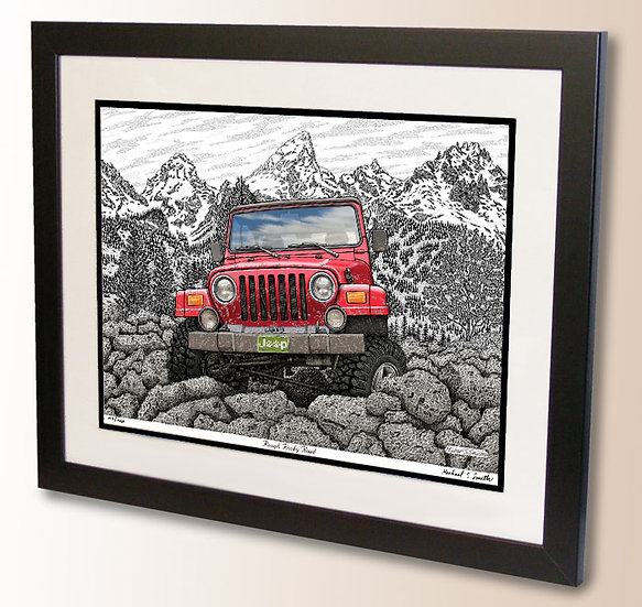 Off Roading in the Rockies drawing art print by Michael Smith