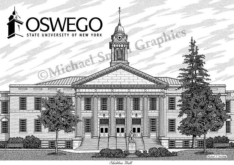 SUNY Oswego Sheldon Hall art print by Michael Smith