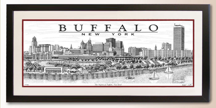 Buffalo New York Skyline art print by Michael Smith