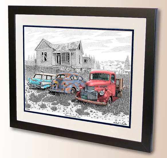 Vintage automotive pen and ink art print by Michael Smith