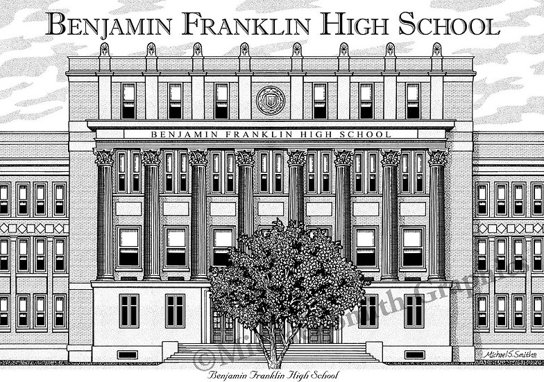 Benjamin Franklin High School art print by Michael Smith