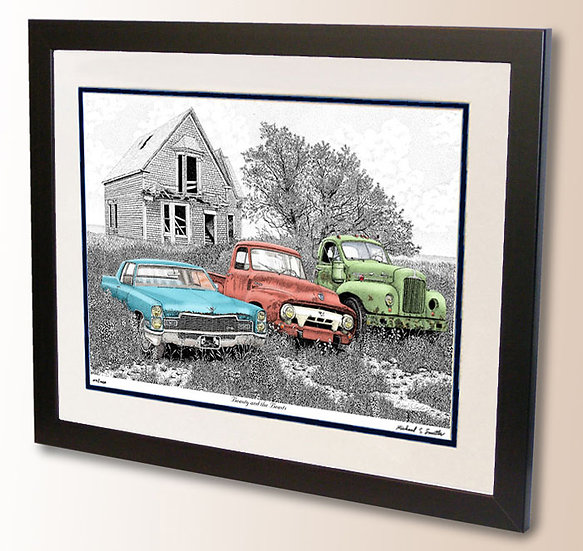 Vintage Cadillac Ford Pickup and Mack Truck art print by Michael Smith