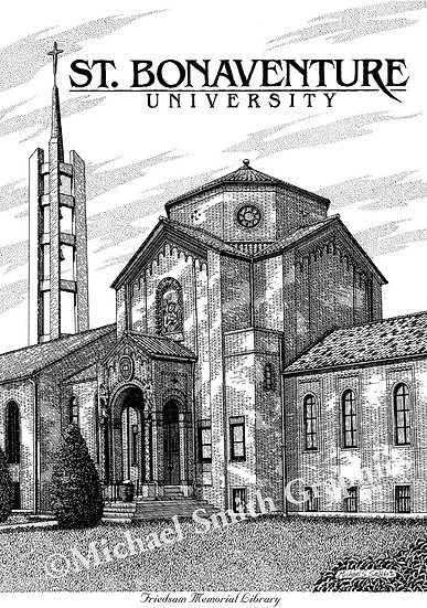 St. Bonaventure Friedsam Library art print by Michael Smith