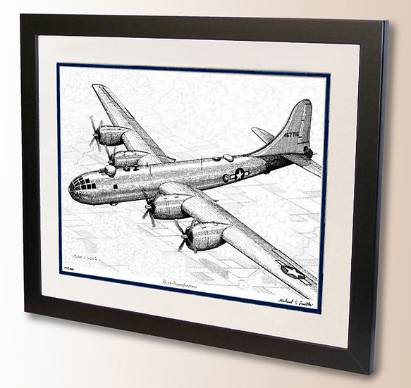 B-29 Superfortress pen and ink art print by Michael Smith