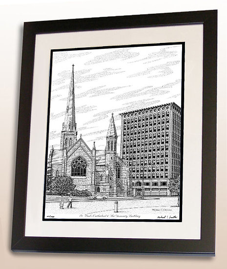 St. Pauls Cathedral and Guaranty Building in Buffalo, NY art print by Michael Smith