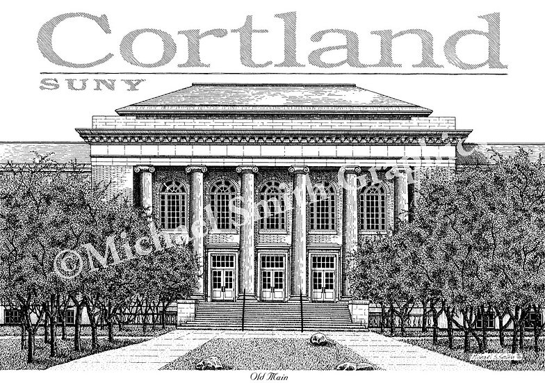 SUNY Cortland Old Main art print by Michael Smith