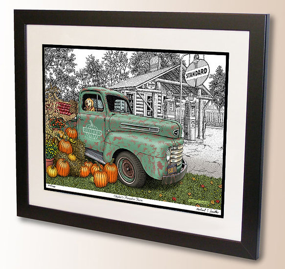 Drawing of Golden Retriever in a Pickup Truck art print by Michael Smith
