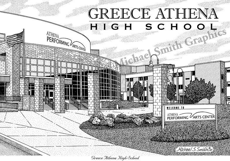 Greece Athena High School art print by Michael Smith