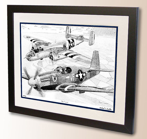 B-25 Mitchell and P-51B Mustang art print by Michael Smith