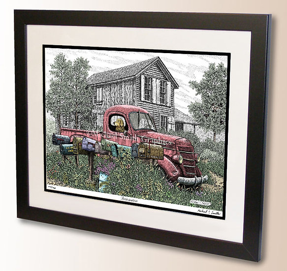 Golden Retriever in old Pickup Truck art print by Michael Smith