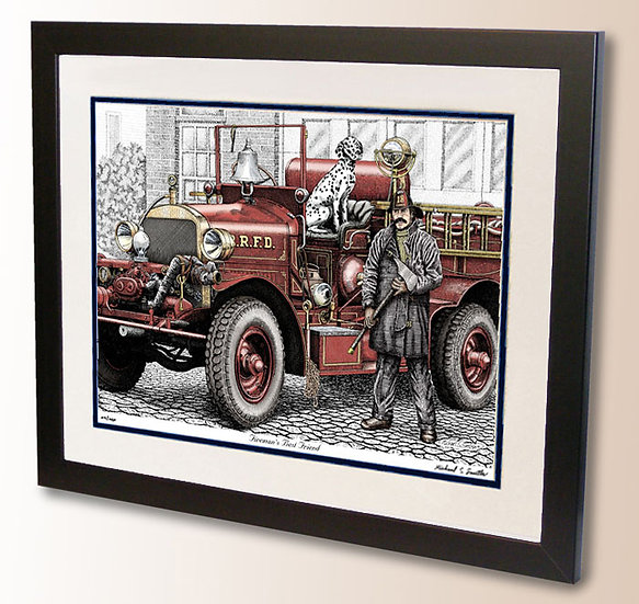 Vintage Firefighting art print by Michael Smith