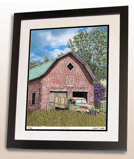 Old truck and barn art print by Michael Smith