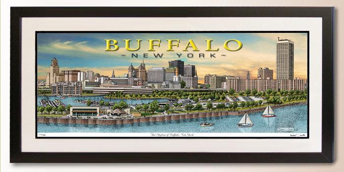 Buffalo, NY Skyline art print by Michael Smith