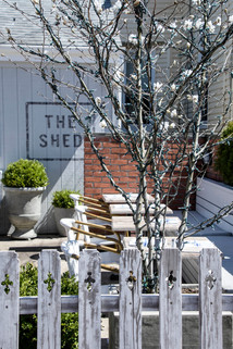 Al fresco dining on the patio at The Shed Restaurant.