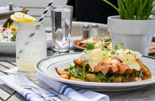Eggs Benedict with Smoked Salmon at The Shed Restaurant