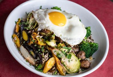 Roasted Vege Bowl with fried Egg Vegetarian